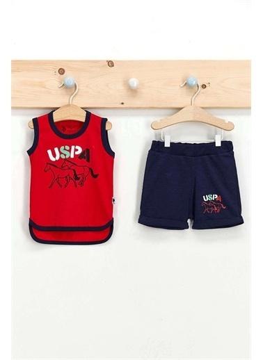 U.S. Polo Assn. Lisanslı Mat Indigo Erkek Bebek Atlet Takım Kırmızı